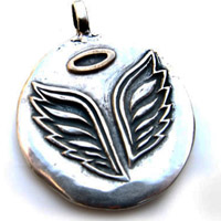 Sterling Silver Angel Wings with Bronze Halo Charm