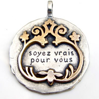 "Sterling Silver and Bronze French Scroll Charm (""Be True To Yourself"")"