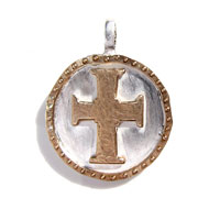 Sterling Silver and Bronze Cross Charm