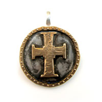 Sterling Silver and Bronze Oxidized Cross Charm