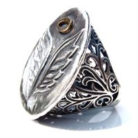 Sterling Silver Wings w/ Bronze Halo Ring